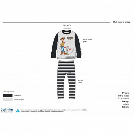 PYJAMA LONG MANCHES LONGUES GARCON GRIS CHINE TOYS STORY 10 ANS