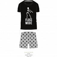 Pyjashort manches courtes junior garçon NOIR/GRIS CHINE XXS