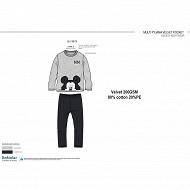 Pyjama long velours mickey GRIS NOIR MICKEY 8 ANS