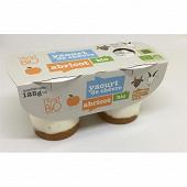 Yaourt bio bicouche abricot au lait de chevre pasteurise 2x125g