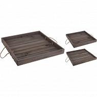 Lot de 2 plateaux en bois avec poignées