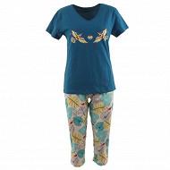 Pyjama corsaire femme VERT/ALL OVER T50\52