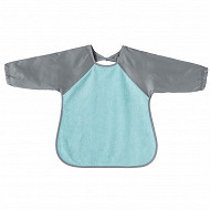 Bavoir tablier manches 2ème âge 37x42cm éponge/nylon aqua/gris Babycalin