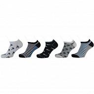 Lot de 5 paires de socquettes invisibles fantaisie garçon BLANC/MARINE/BLEU 23/26