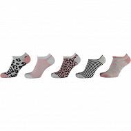 Lot de 5 paires de scquettes invisibles fantaisie fille MULTI ROSE 23/26