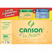 Canson lot 1 pochette dessin blanche a4 180g + 1 pochette calque a4 70g