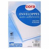 Cora 10 enveloppes blanches auto adhésives 16.2x22.9 cm 90 grammes