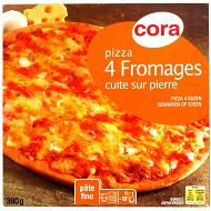 Cora pizza 4 fromages cuite sur pierre 390g