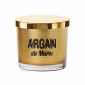 Verre coloré mercurisé or serig avec couvercle noir bougie argan du maroc