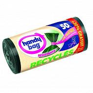Handy bag sacs poubelle 50l liens pratiques recyclés + 30% oft