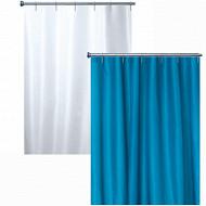 Rideau de douche textile uni coloris bleu celeste et blanc 180x200