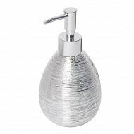Flacon pompe céramique feuilete argent