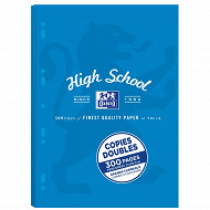 COPIES DOUBLES PERFOREES OXFORD HIGHSCHOOL 210X297 SOUS ETUI 300P 90G SEYES