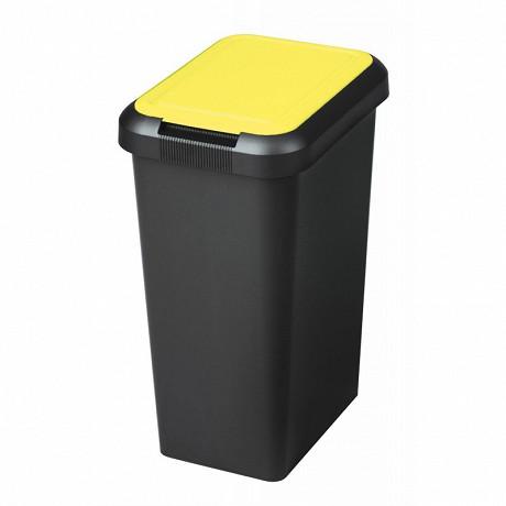 Poubelle recyclage 3 ouvertures 25l base noir couvercle jaune+ attache