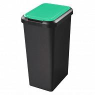 Poubelle recyclage 3 ouvertures 25l base noir couvercle vert + attache