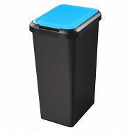 Poubelle recyclage 3 ouvertures 25l base noir couvercle bleu  + attache