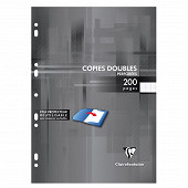 Clairefontaine copies doubles blanches perforées A4 200 pages seyes 90g
