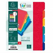 Exacompta - 6 intercalaires 17x22 cm carte lustrée couleurs vives