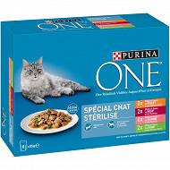 PURINA ONE Sachets fraîcheur pour chats adultes stérilisés Multivariétés - 8 x 85 g