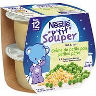 Nestlé P'tit Souper Crème de petits pois, petites pâtes dès 12 mois 2x200g