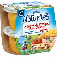 Nestlé Naturnes Bols Légumes du potager, pâtes, jambon dès 12 mois 2x200g