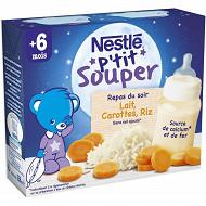 Nestlé P'tit Souper Lait, carottes et riz dès 4/6 mois 2x250ml