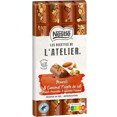 Nestlé Nestlé Les Recettes de L'Atelier tablette de chocolat au lait muesli et caramel pointe de sel 170g