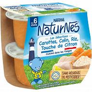 Nestlé Naturnes Les Sélections carottes merlu blanc riz citron dès 6 mois 2x200g