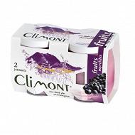 Climont yaourt aux fruits myrtilles 2x125g