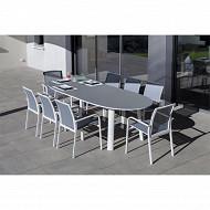 Ensemble capucine blanc grisé 1 table + 6 fauteuils