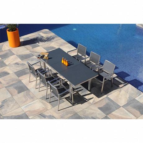 Ensemble cassis 160/210x90 1 table+6 fauteuils