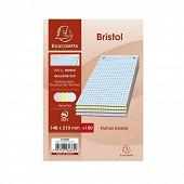Exacompta - 100 fiches bristol perforées 14.8x21 cm 5x5 coloris assortis