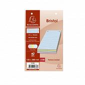 Exacompta - 100 fiches bristol perforées  4 coloris assortis 12.5x20 cm petits carreaux