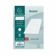 Exacompta - 50 fiches bristol perforées 148x210 5x5