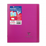Clairefontaine koverbook cahier 17X22 cm grands carreaux rose