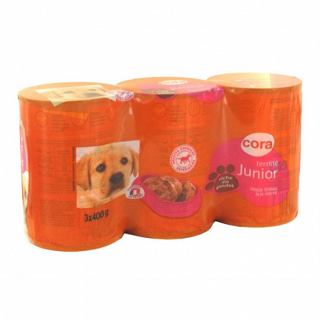 Cora pâtée et morceaux pour chien junior au poulet 3x400 g