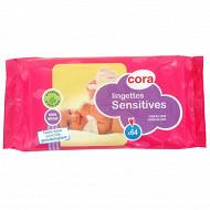 Cora lingettes bébé sensitive recharge x64