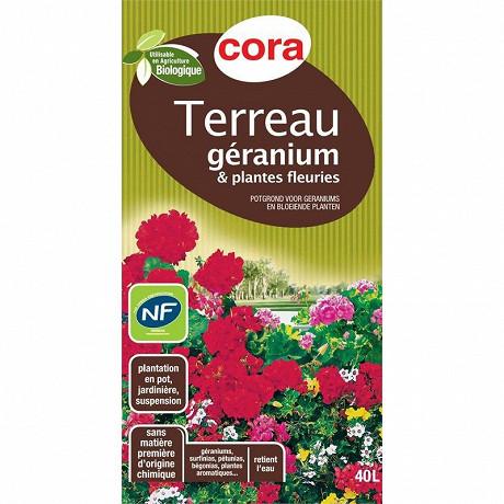 Cora terreau géraniums et plantes fleuries utilisable en agriculture biologique 40l