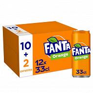 Fanta orange boite 12x33cl sleek 10+2