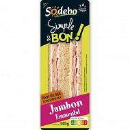 Sodebo sandwich simple & bon complet jambon emmental 145g