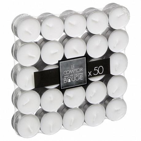 Lot de 50 bougies chauffe-plats coloris blanc