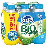 Lactel lait uht bio et engagé demi écrémé bouteille plastique 6x1l Offre Découverte