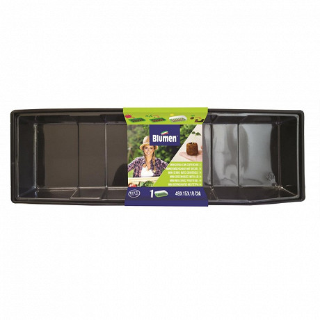 Mini serre plastique bord de fenêtre 49X15X10 cm avec couvercle transparent