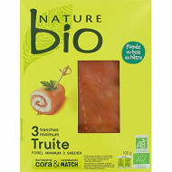 Nature bio truite fumée AB 3/4 tranches 100g