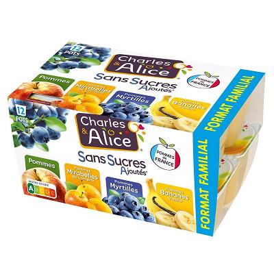 Charles & Alice Charles & Alice spécialité de pommes mirabelles myrtilles et bananes 12x100g sans sucres ajoutés