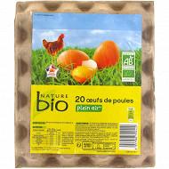 Nature bio 20 oeufs de poule plein air