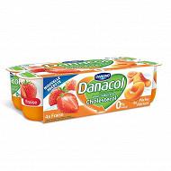 Danone Danacol 0% spécialité laitière aux fruits à la fraise pêche et abricot 8x125 g
