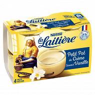 La Laitière petit pot de crème arôme naturel de vanille 4x100g
