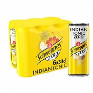 Schweppes zéro indian tonic boite slim 6x33cl