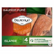 Delpeyrat le saumon fumé origine Islande 4 tranches 130g